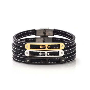 Fashion classical stainless steel leather sideways cross bracelet