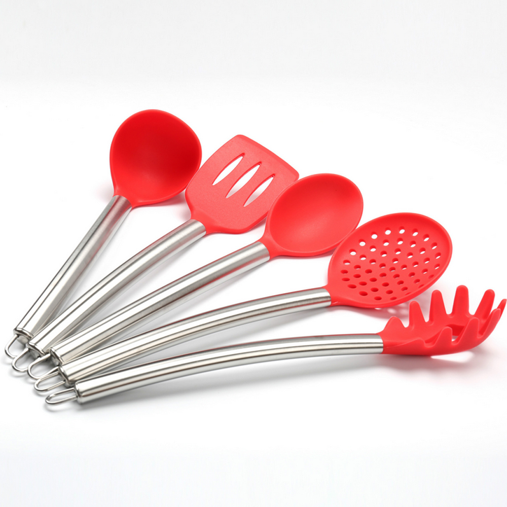 WB-ZYS-KW5 OEM FDA Food Grade 5PCS Stainless Steel handle Kitchen tools silicone Cookware in Metal Handle