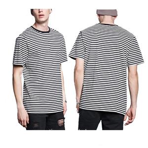 Round neck stripe short sleeve cotton custom mens t shirts