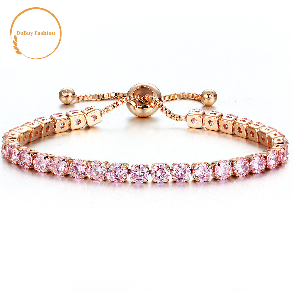 패션 cubic 지르코니아 multi color rose gold crystal 테니스 bracelet 대 한 women