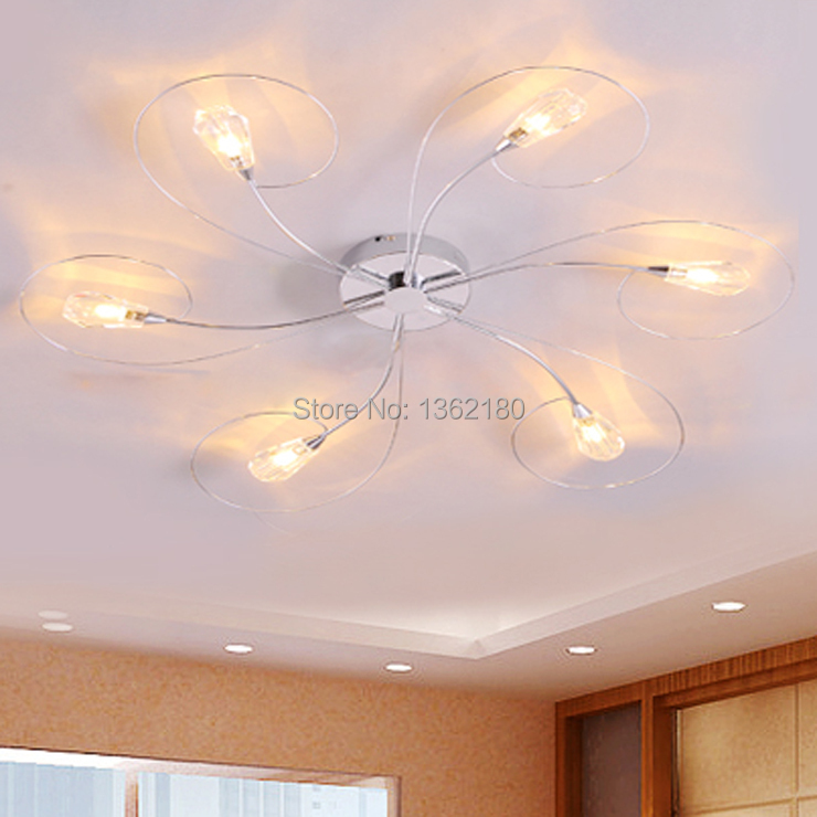 New Modern Crystal Shade 6 Lights Ceiling Lamp Chandelier