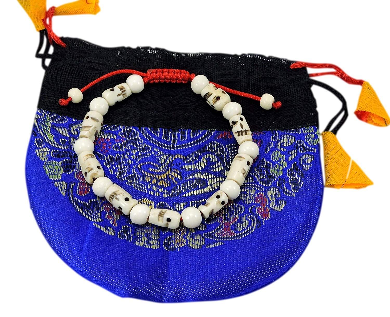 Tibetan Mala Carved Yak Bone Skull Wrist Mala/ Bracelet for Meditation BM-24
