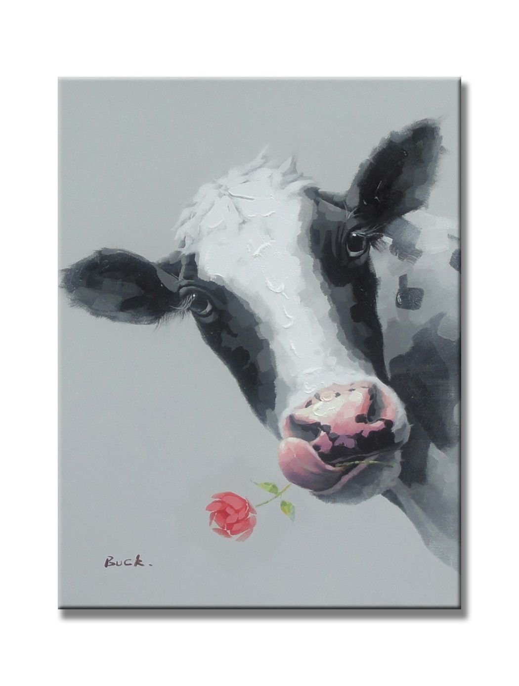 """Cute Cow Animal Paintings 100% Handpainted Canvas Oil Paintings Wood Stretched Home Decor Ready To Hang 20x24"""" (50x60cm)"""