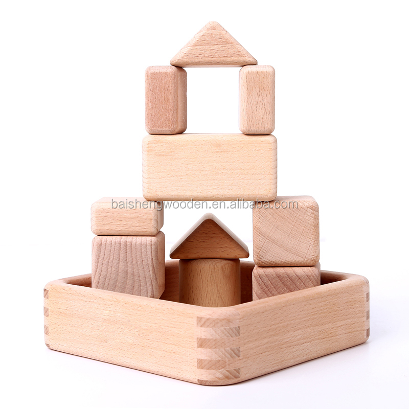 22Pcs Natural Unfinished Beech Wood DIY Kids Toy Building Blocks