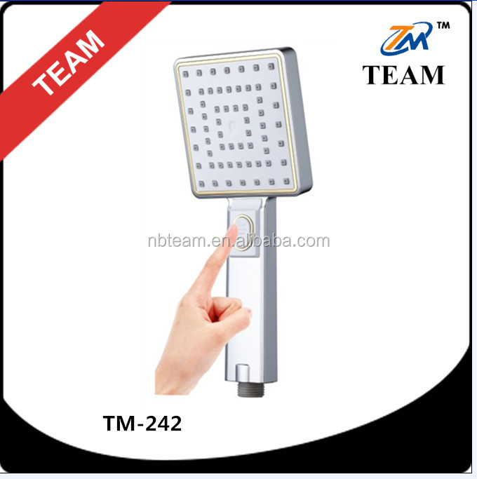 TM-242 Bath accessories ABS plastic button function 3 jet square hand shower head