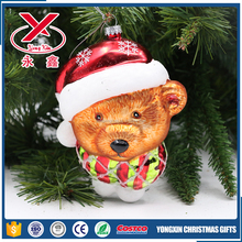 Glass bear animal figurines for christmas tree decorations