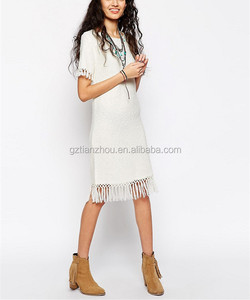 Hot Fashion Cheap New Design Fashion Plain Casual Dress Slub Knitted Women Dress With Fringing