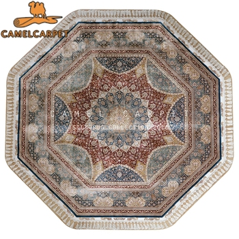 Silk Hand Knotted Carpet Special Shape Rug Octagon Egypt Persian Rug