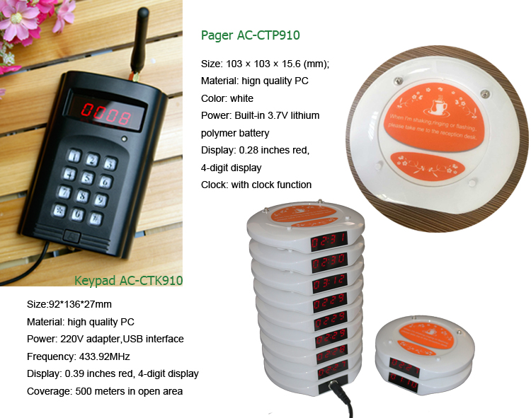 Waterdichte coaster pager systeem CTP910 (1 toetsenbord met 20 pagers)