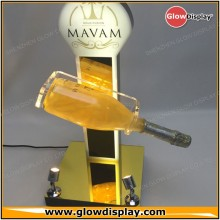 GlowDisplay Acrylic Illuminated Sparkling Gold Wine Bottle Rotating Display Stand for expositor
