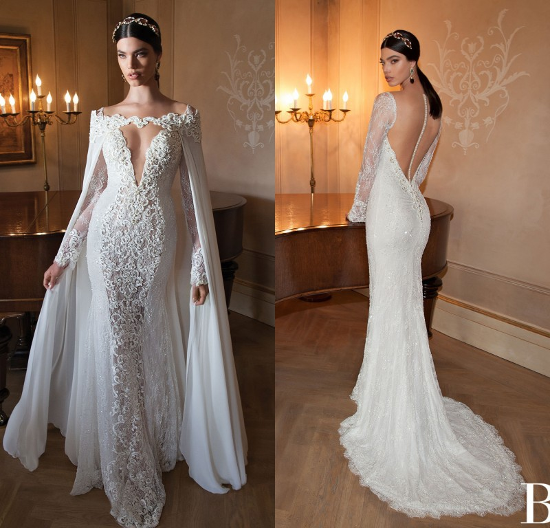 Lace Backless Mermaid Wedding Gown: 2015 Berta Bridal Gown Long Sleeve Mermaid Lace Sexy