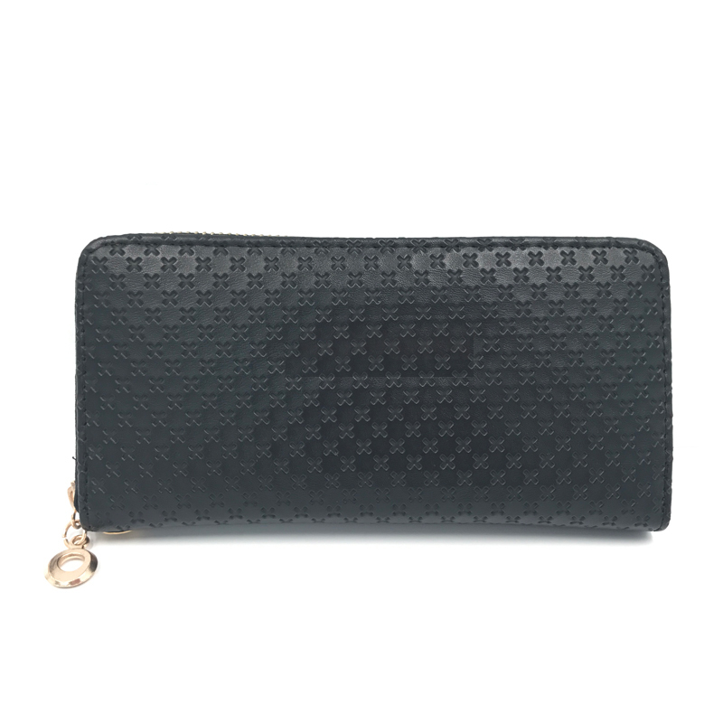 factory price bow leather zipper ladies wallet