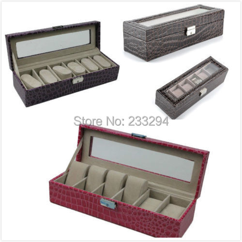 Rectangle 6 Slot Watches Display Case Glass Top Jewelry Organizer Box Storages