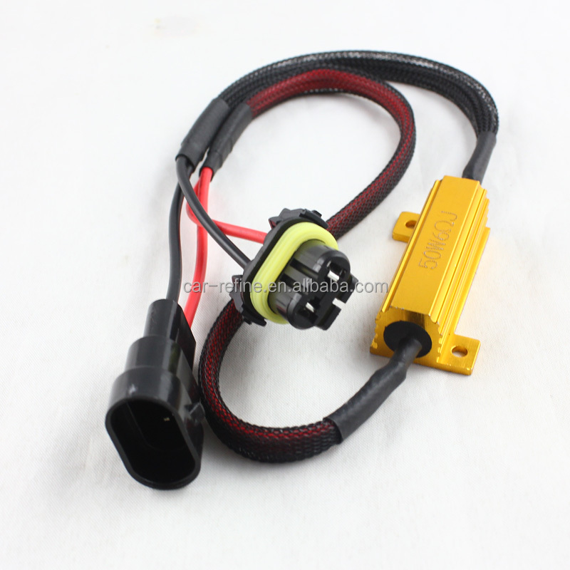 50W 9006 HB4 HID LED warning canceller cables harness can bus decoder error free 50w 6 ohm load resistor
