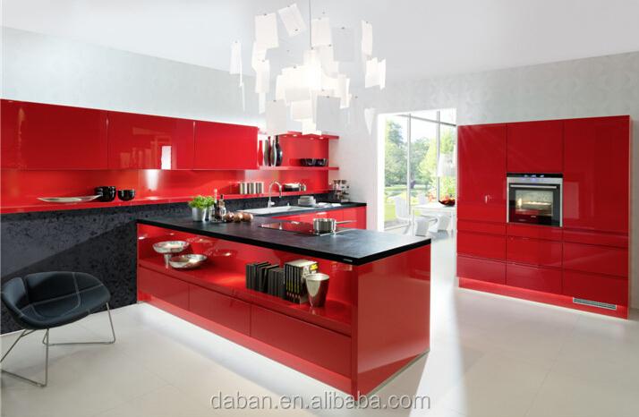 Alto brillo de color rojo y te negro mueble cocina para extractor ...
