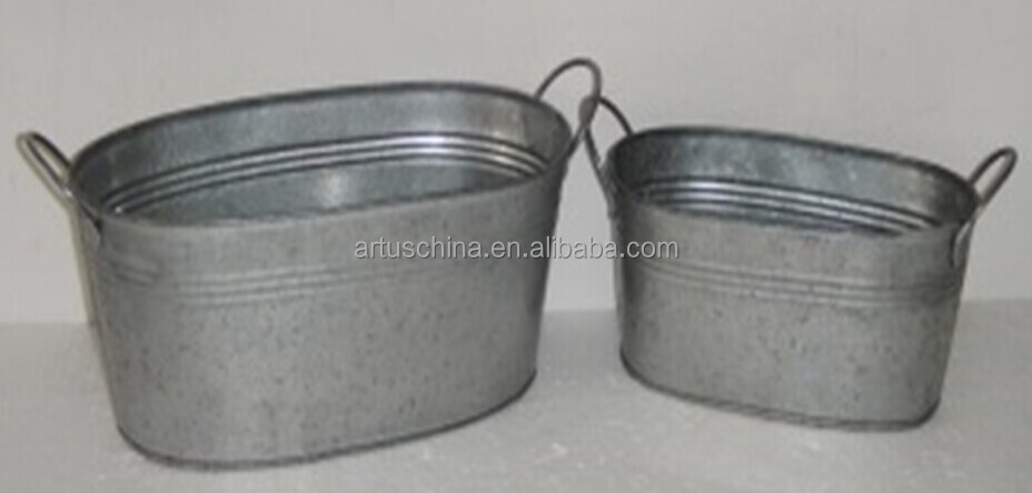 Set of 2 Galvanized Zinc Flower Pots Planter