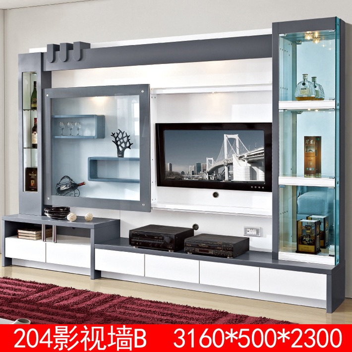 living room furniture lcd tv wall unit wood led tv wall unit design
