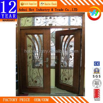 Beautiful Design Double Leaf Decorative Metal Door Double Glass