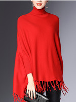 Women's Long Knitted Pullover Tassel Poncho Sweater