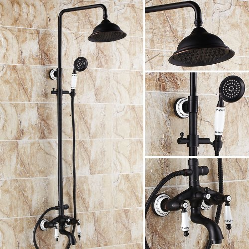 Get Quotations Rozin Oil Rubbed Bronze Bathtub Shower Faucet Set 8 Inch Rainfall Head Hand