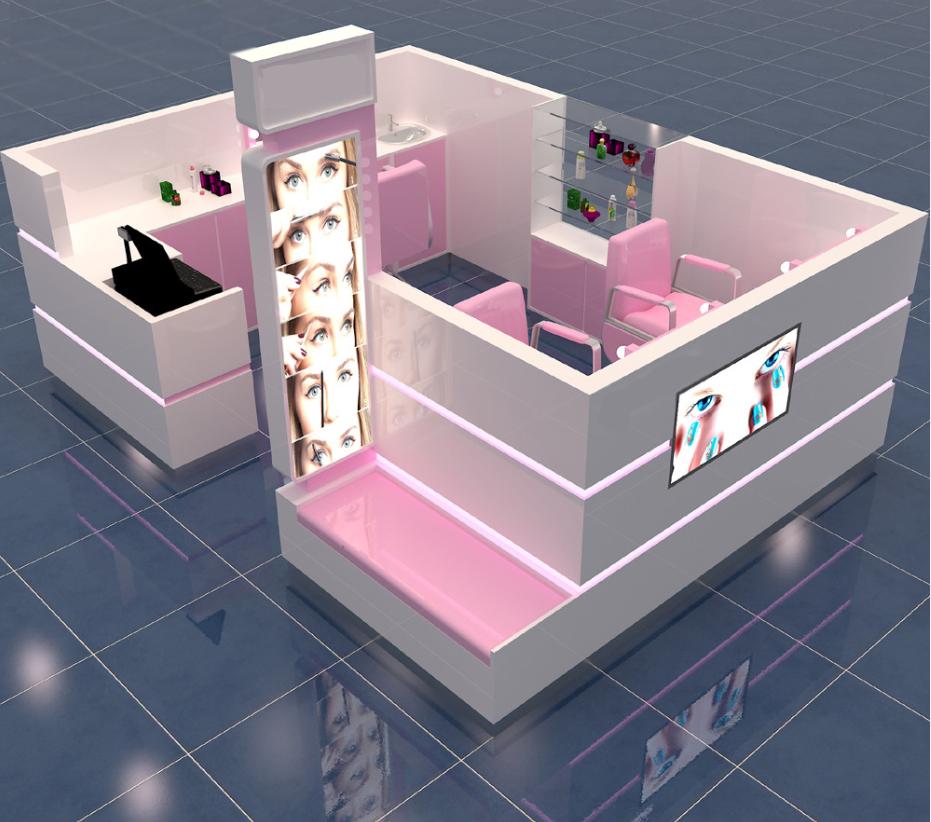 Custom design fashion mall eyebrow threading kiosk furniture for sale