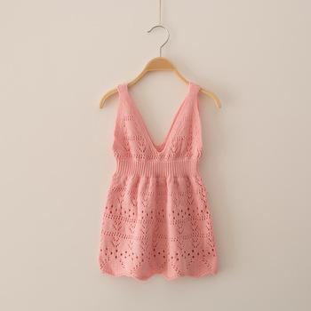 S32906w Spring Summer New Kids Baby Girls Cotton Sweater Strap Dress