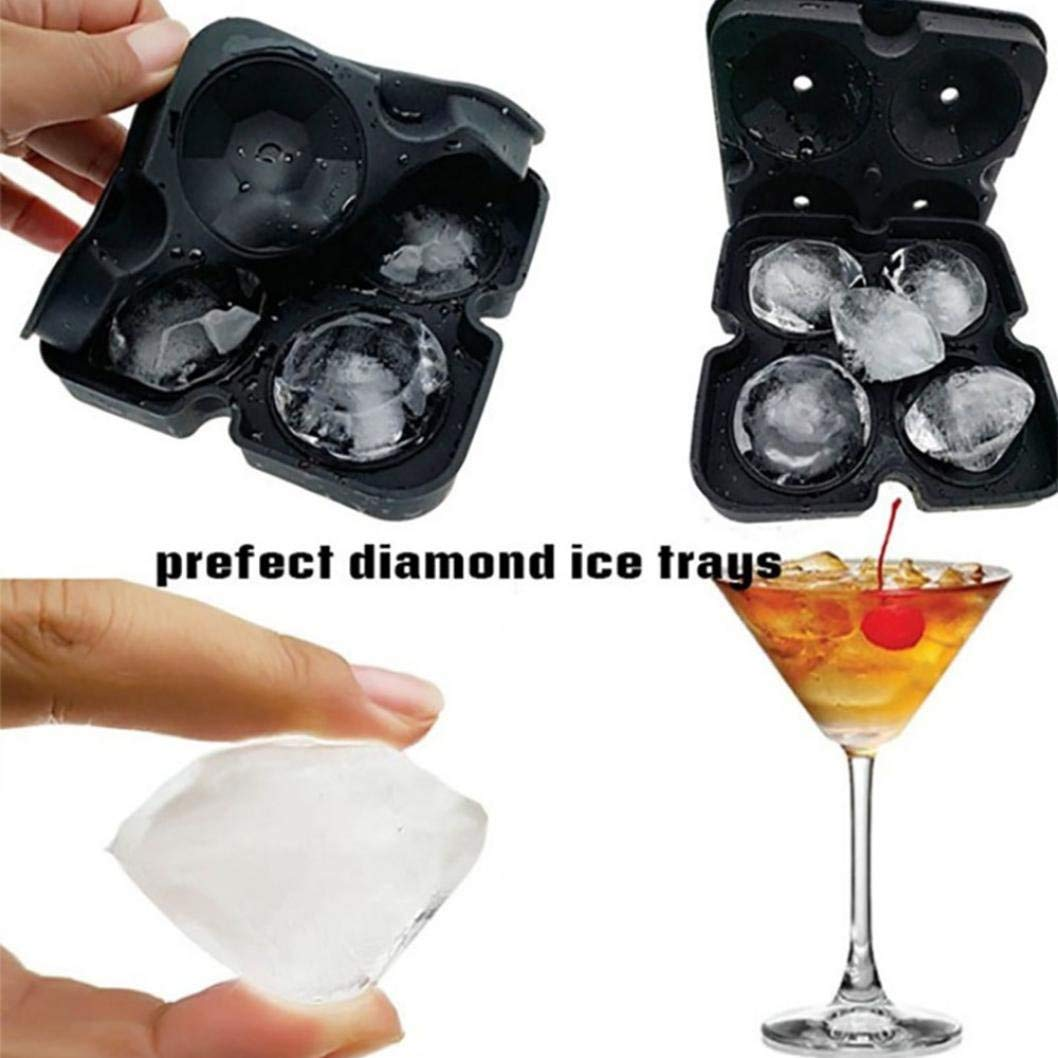 Vanvler 4 Cavity Ice Cube Tray 3D Diamond Shape Silicone Ice Mold