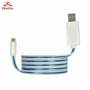 Smartphones USB 2.0 Visible Flowing EL LED Light Sync Data & Fast Charging Flat Cable for iphone charger cable