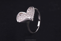 silver ring with the studded of cz love ring