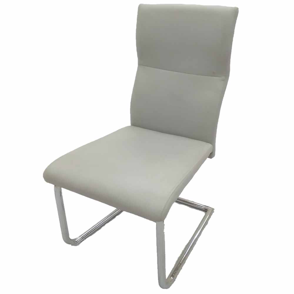 Kitchen Dining Side Chair in White Leatherette & Chrome Base Leg cheap restaurant tables chairs