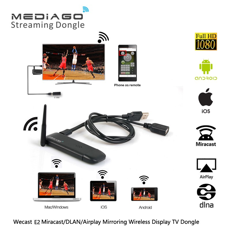 Wecast E2 1185 Miracast <strong>Dongle</strong> Display Receiver, Airplay <strong>TV</strong> <strong>Dongle</strong>