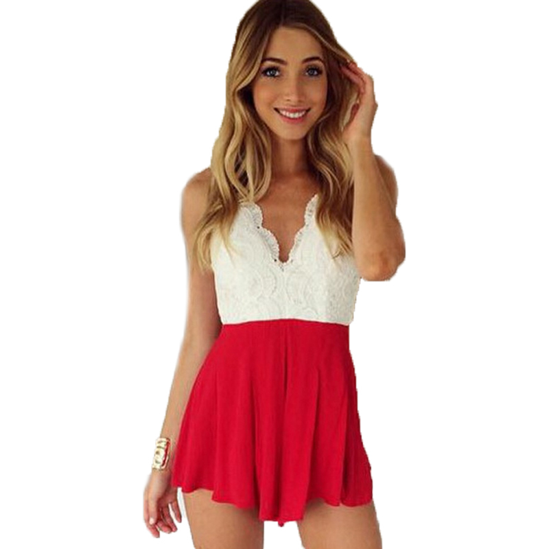 2eadc19f66b3 Get Quotations · Summer Style Sexy Halter Rompers Womens Jumpsuit Lace Deep  V Neck Cross Backless Jumpsuits Women High