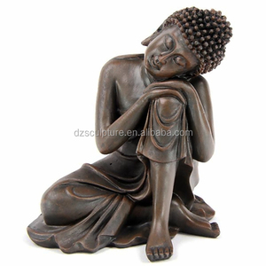 Sleeping brown copper color fiberglass Thai buddha figurines