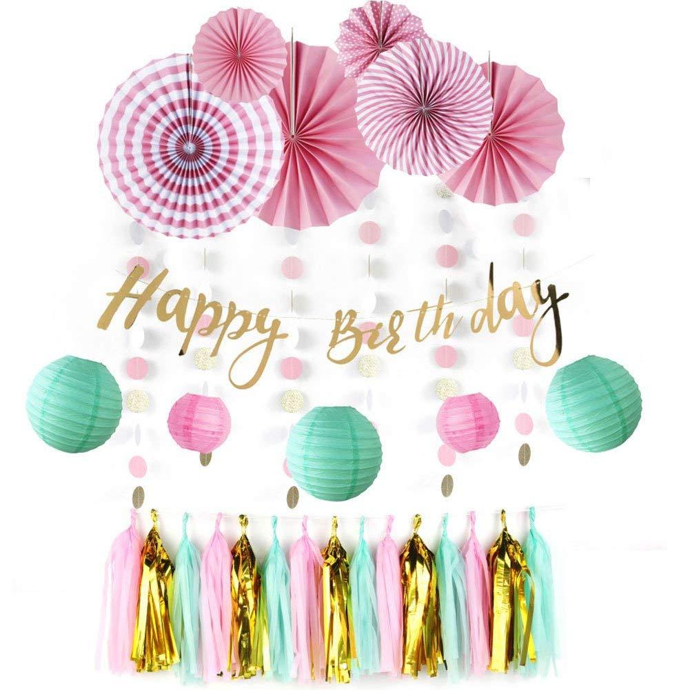 12pcs (Mint, Pink, Gold) Birthday Party Decoration Kit Happy Birthday Banner, Paper Fans Flower, Tassel Garland,Circle Garland Baby Shower
