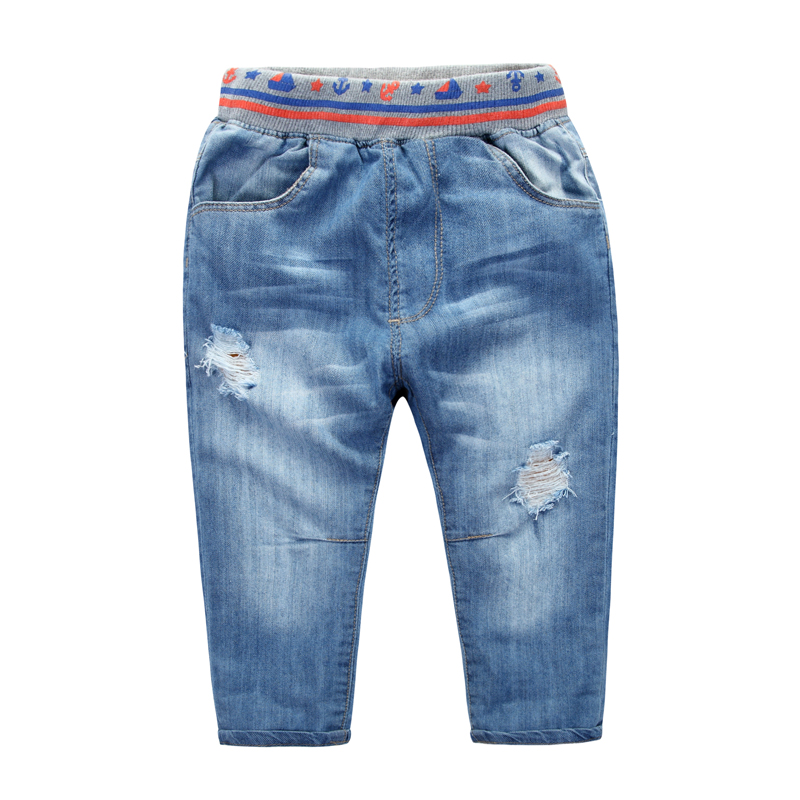 Child jeans spring and autumn children's clothing 2015 child baby hole casual pants male child trousers