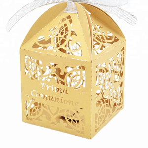 first holy communion laser cut customized cross favor box for wedding or party