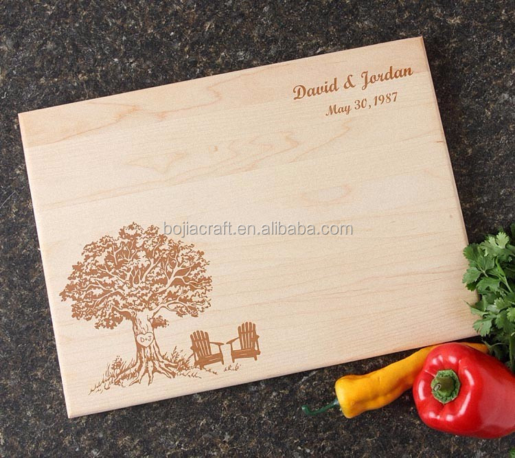 High Quality Engrave Logo Tree Wooden Cutting Board
