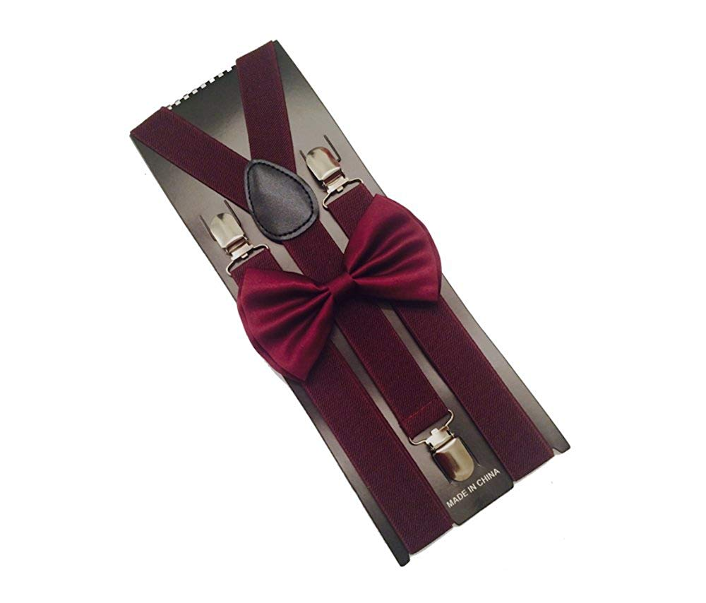 Wine Mens Bowtie Set Youth Bow Tie and Suspenders for Men Clip Suspenders