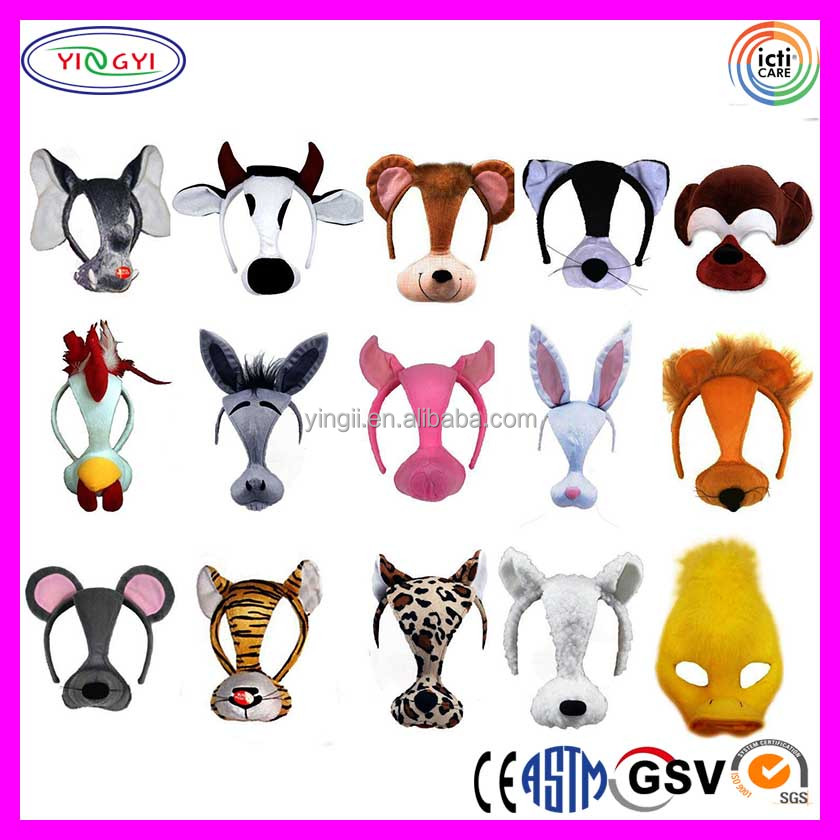 B868 Plush Animal Mask Cow Mouse Rabbit Tiger Pig Lion Goat Half Face Party Cool Mask Designs