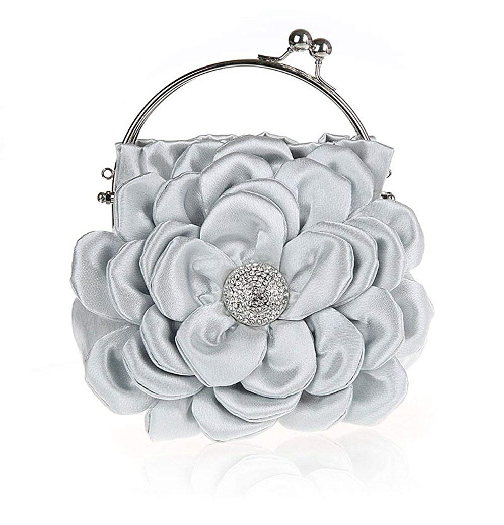 843b76b11f73e Floral Embellish Women's Satin Pleated Flower Front Evening Bag Clutch  Handbag