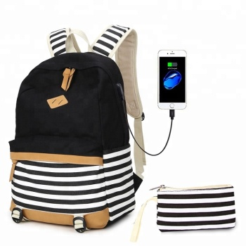 Hot selling fashion printed backpack teenage girl canvas school bags set