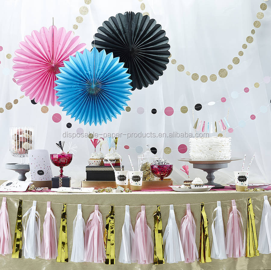 Pastel hanging tissue paper fans diy backdrop tissue paper for Baby shower ceiling decoration ideas