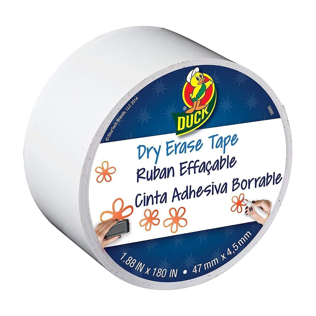 """Bulk Dry Erase Tape, White, 1.88""""x 180"""": Duck Brand 284878 (84 Dry Erase Tape Rolls)"""