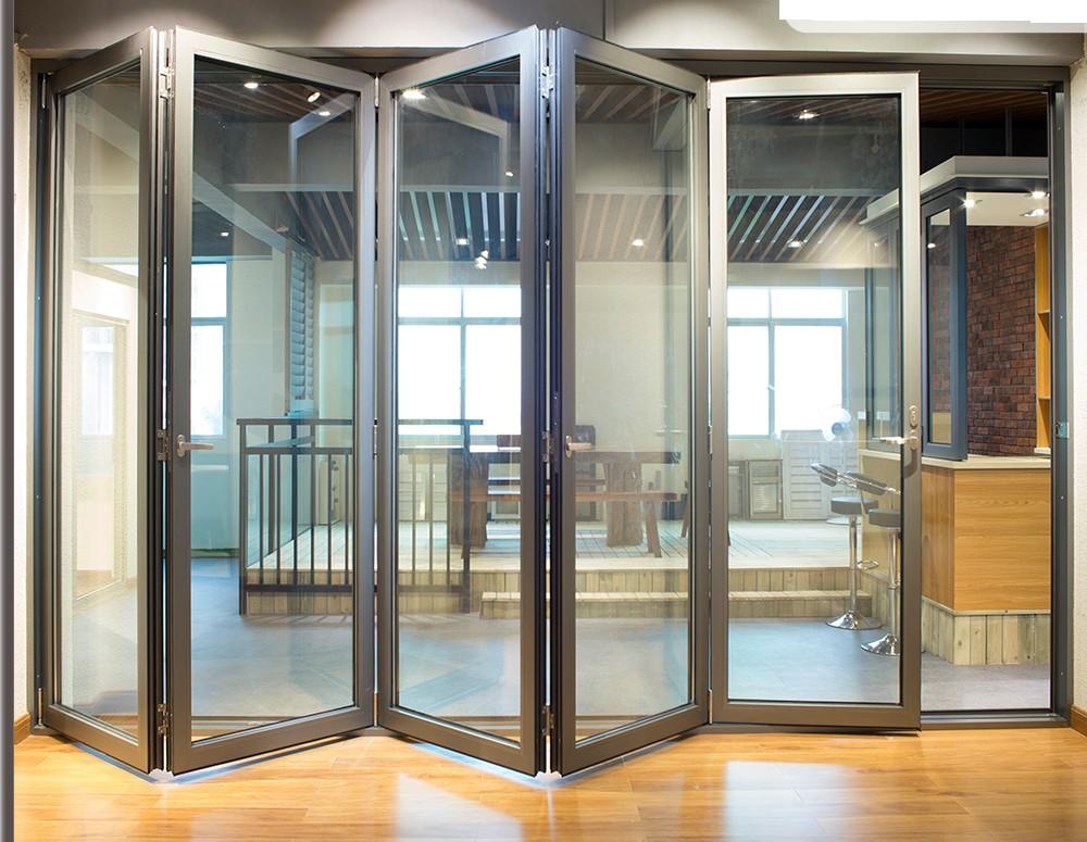 Luxurious design Heat & Sound insulation bifold bi folding Aluminum Accordion Folding Door Factory