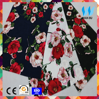 2017 China supplier wholesale t r 65 35 rayon polyester rayon challis fabric for women dress