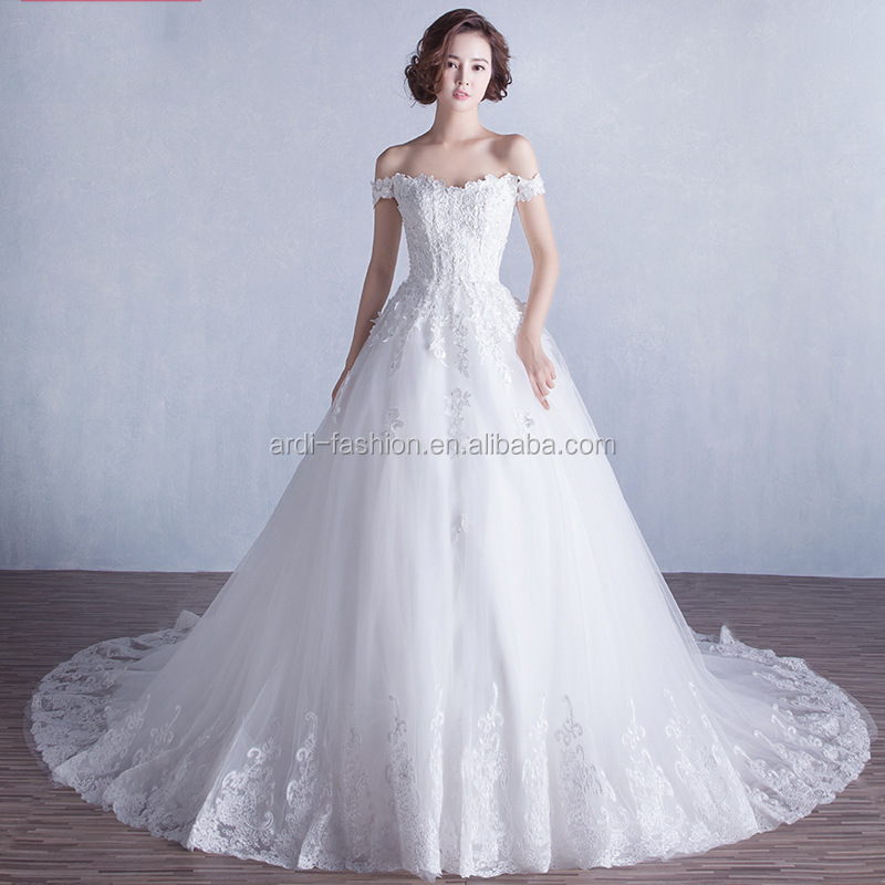 New fashioned V neck white wedding dress