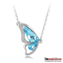 Blue Color Aquamarine Butterfly Zircon Female Pendant Necklace CNL0031-B