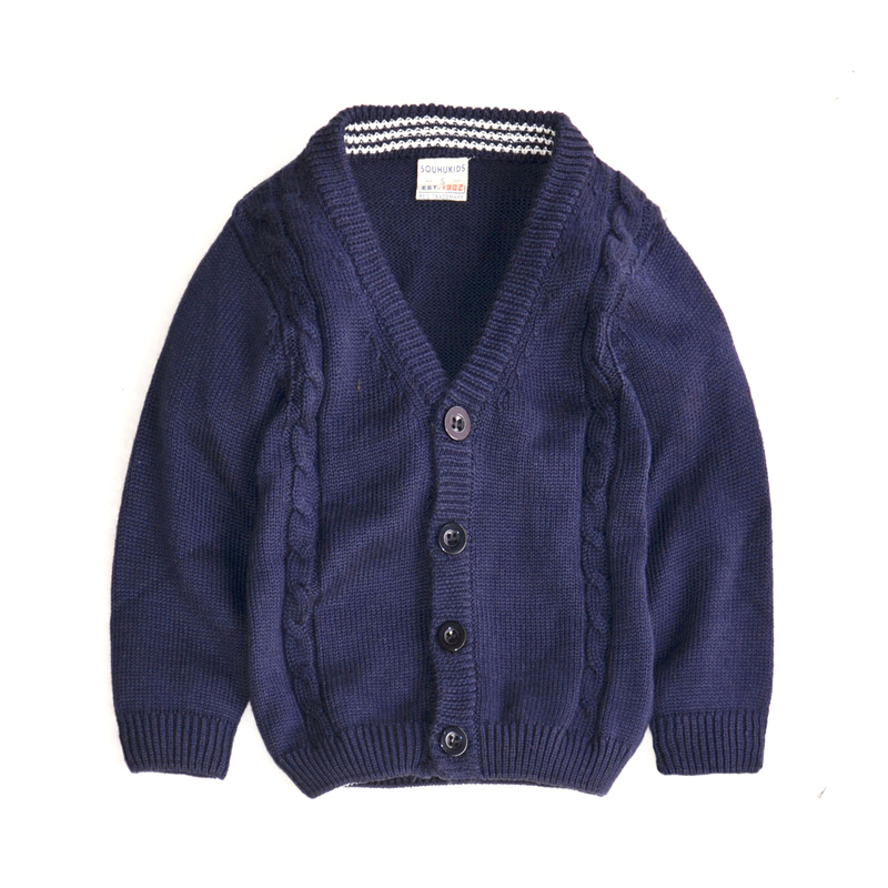 RuggedButts Little Boys Long Sleeve Navy Blue Pullover Sweater w//Pockets