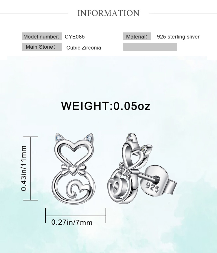 925 sterling silver women Small animal pet shapes necktie cat stud earrings