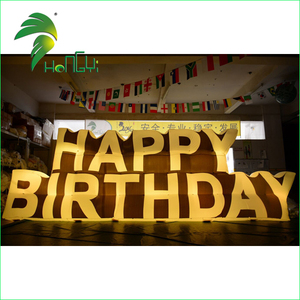 Custom Made Inflatable Led Lighting Up Happy Birthday Signs / Outdoor Inflatable Sign For Party Decorations